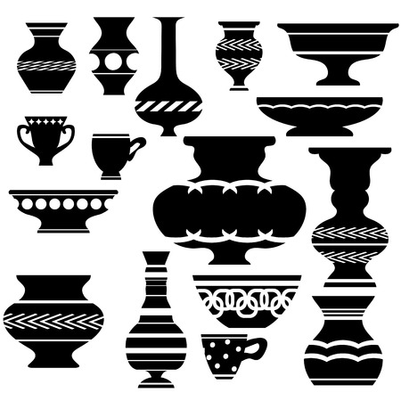 chinaware: Set of Vases Silhouettes Isolated on White Background Illustration