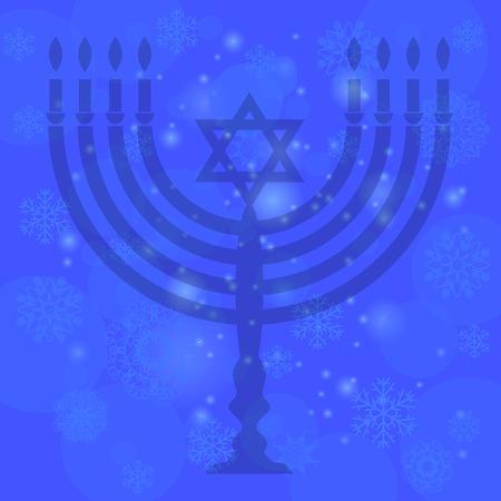Silhouette of Menorah Isolated on Blue Sky Background. Snow Flake Pattern. Symbol of Hanukkah
