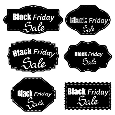 Set of Different Dark Stickers Isolated on White Background. Black Fridays Labels.