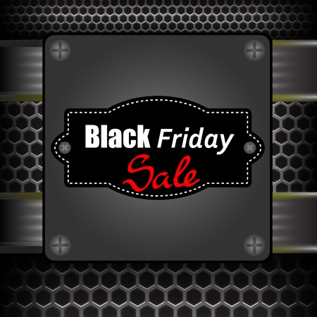 perforated: Black Friday Label on Grey Metal Perforated Background Illustration
