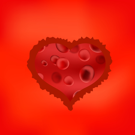 myocardial: Red Stilized Heart Isolated on Soft Red Background. Symbol of Heart. Original Heart Icon.