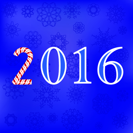 numerical: Winter Card. Christmas Blue Snowflakes Background. Numerical Pattern