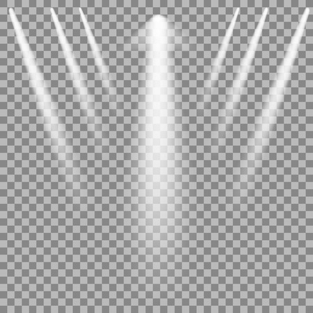 Set of White Spotlights Isolated on Checkered Background