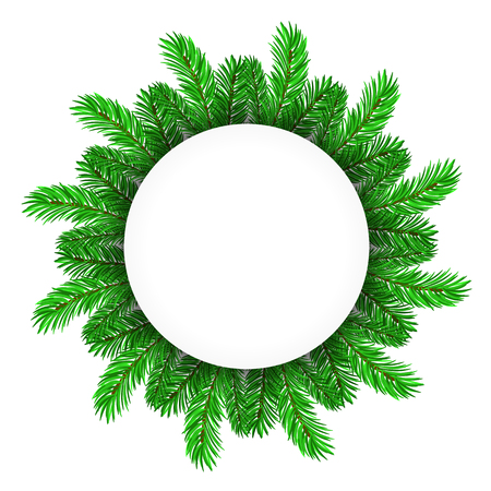 adorned: Green Fir Circle Frame Isolated on White Background
