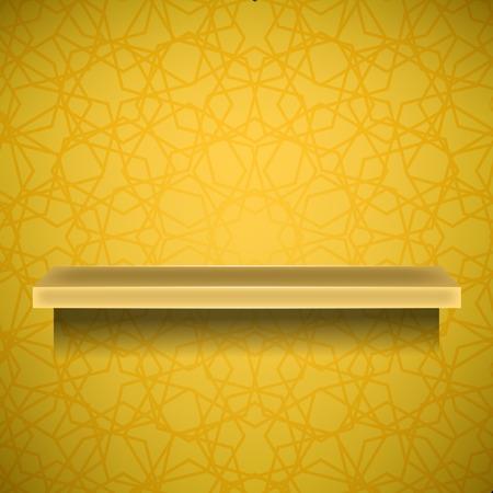 emty: Emty Yellow Shelf  on Ornamental  Yellow Lines Background