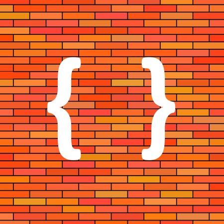 bracket: White Curly Bracket Icon on Orange Brick Background