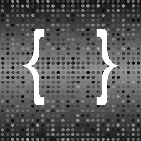 bracket: White Curly Bracket Icon on Grey Halftone Background Stock Photo