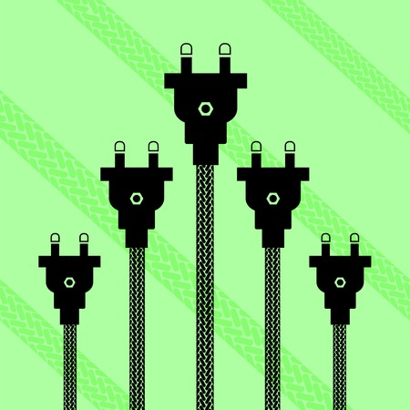wattage: Set of Electric Plugs Concept on Green Background Stock Photo