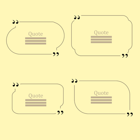 citing: Quote Bubble. Set of Speech Bubbles. Empty Templates on Yellow Background