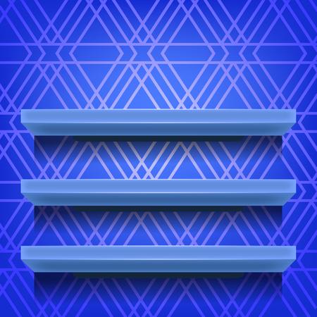 Blue Shelves on Ornamental Blue Lines Background