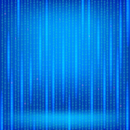 security code: Binary Code Blue Background. Concept Binary Code Numbers. Algorithm Binary, Data Code, Decryption and Encoding.