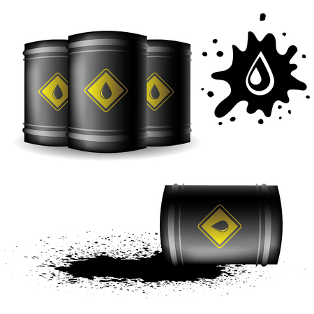 poured: Metal Oil Barrel Isolated on White Background. Big Drop of Oil. Fuel Droplet. Drop of Oil Poured from a Black Barrel