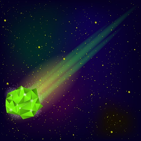 meteor: Green Falling Meteor on Blue Sky Background Stock Photo