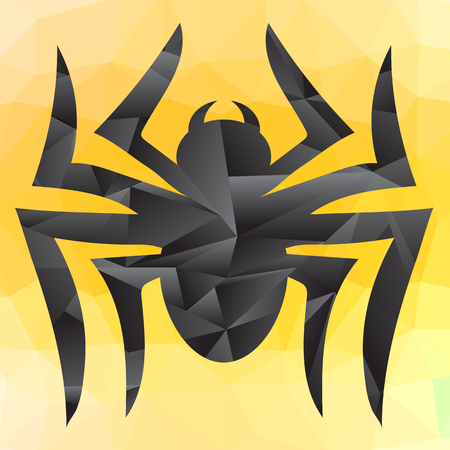 latrodectus: Spider Grey Silhouette Isolated on Yellow Mosaic Background