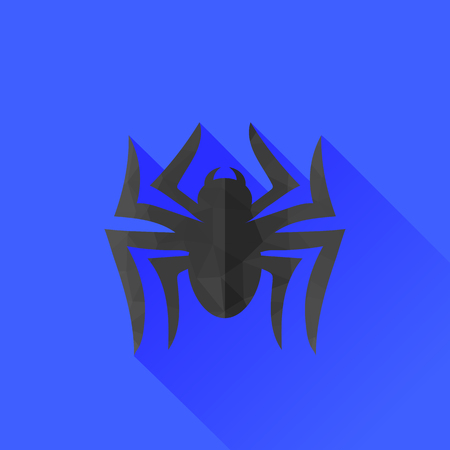 spidery: Spider Grey Silhouette Isolated on Blue Background. Long Shadow Stock Photo