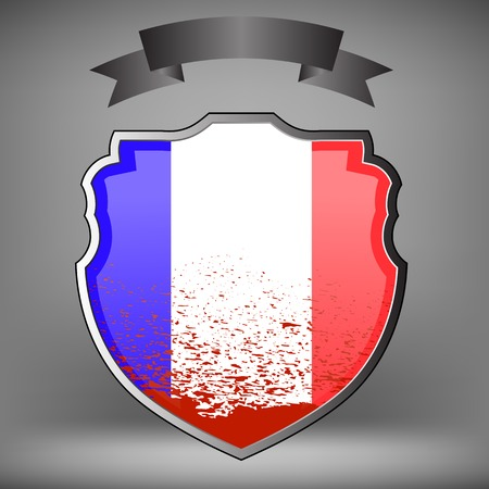 killed: French Shield and Black Ribbon Idolated on Grey Background