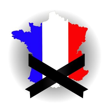 black ribbon: Map of France and Black Ribbon on Grey Background Stock Photo