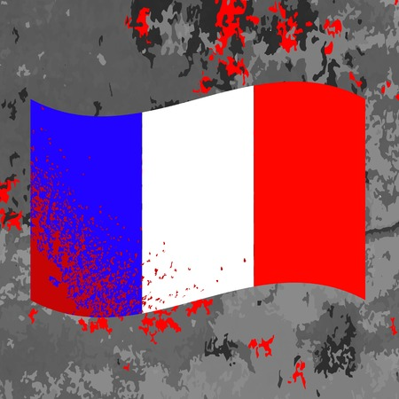 bombing: Flag of France and Blood Splatter. Bloody French Flag on Grey Background