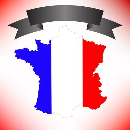 ruban noir: Carte de la France et du Ruban noir sur fond rouge Banque d'images