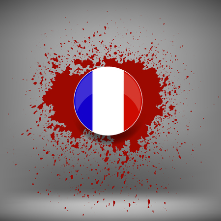 killed: French Icon and Blood Splatter on Soft Grey Background Stock Photo