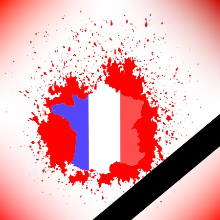killed: Map of France and Black Ribbon on Red Background Stock Photo