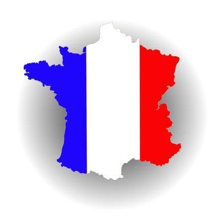 france painted: Map of France. Map Painted in The Colors of The National Flag.