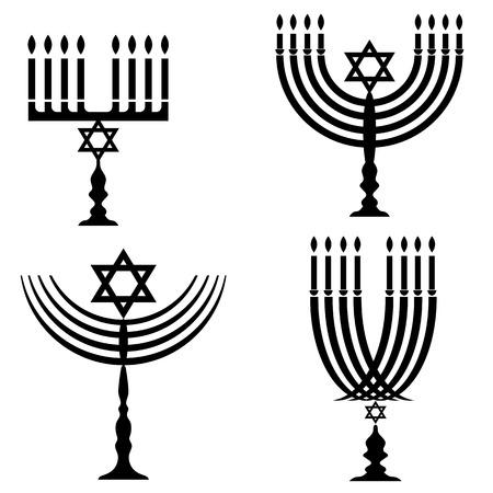 judaic: Set of Menorah Silhouettes Isolated on White Background
