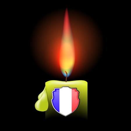 burning candle: Burning Candle and Shield Isolated on Dark Background
