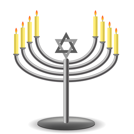 hannukah: Menorah with Burninng Candles Isolated on White Background Stock Photo