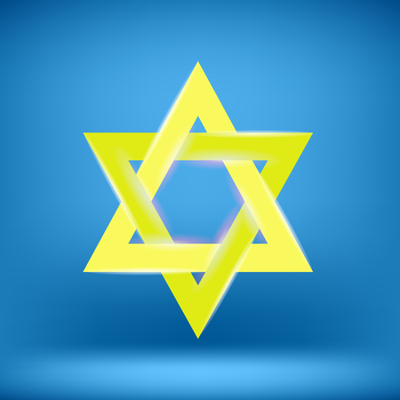 magen: Yellow Star of David Isolated on Blue Background Stock Photo