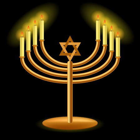 hanukah: Gold Menorah with Burning Candles Isolated on Dark Background Stock Photo