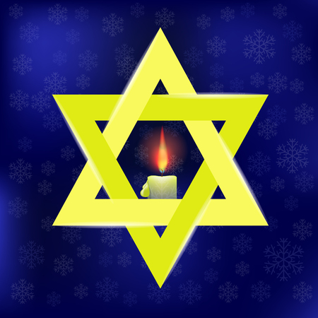 hasidism: Yellow Star of David and Burning Candles Isolated on Blue Snowflakes Background