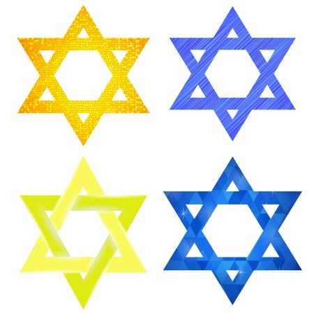 hasidism: Set of Yellow and Blue Mosaic Stars of David Isolated on White Background