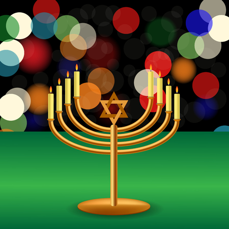 hanukah: Metal Menorah with Burning Candles is on Green Table.