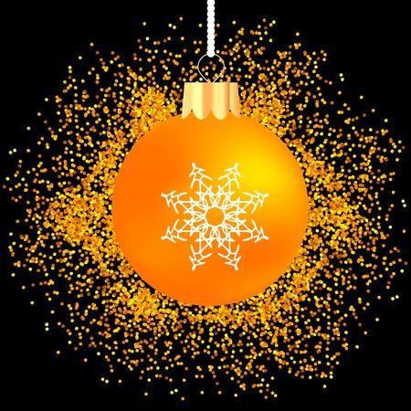 yellow star: Yellow Glass Ball on Yellow Star Background. Gold Glass Ball on Dark Background