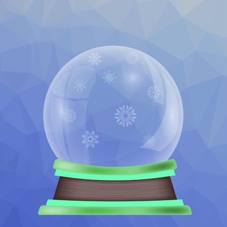 augur: Empty Snow Globe Isolated on Blue Polygonal Background Stock Photo