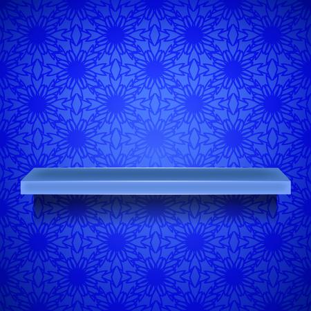 emty: Emty Blue Shelf on Ornamental Blue Lines Background Stock Photo