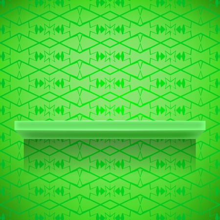 green lines: Green Shelf on Ornamental Green Lines Background