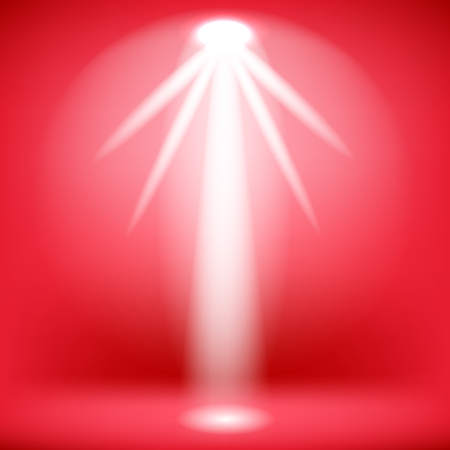 White Spotlight Isolated on Red Background.Stage Spotlight Background Çizim
