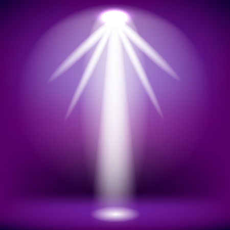 White Spotlight Isolated on Purple Background.Stage Spotlight Background
