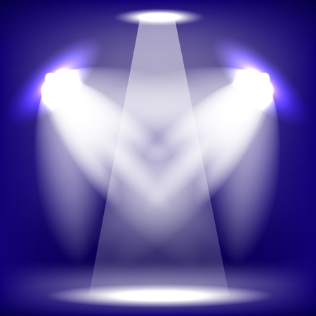 award lit: Spotlights Isolated on Blue Background. Stage Spotlight Background Illustration