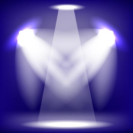 Spotlights Isolated on Blue Background. Stage Spotlight Background Illustration