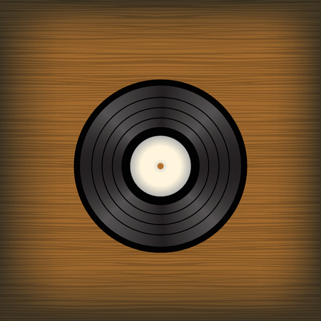 overhead: Old Vinyl  Disc on Brown Wooden Background Illustration
