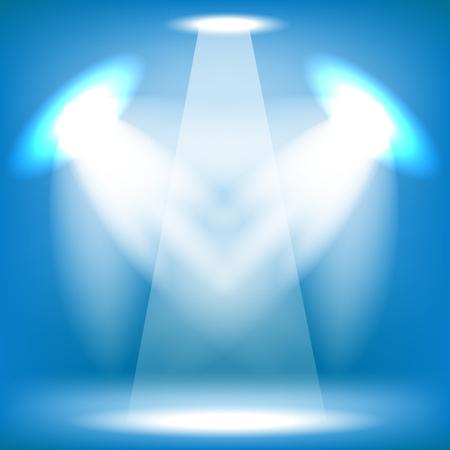 Spotlights Isolated on Blue Background. Stage Spotlight Background Stock Photo