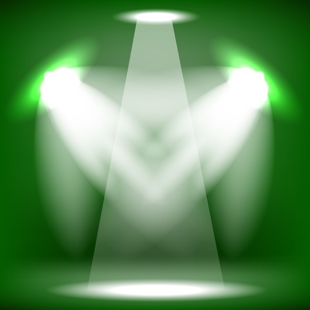 award lit: Spotlights Isolated on Green Background. Stage Spotlight Background