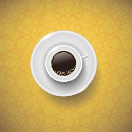 mocca: Cup of Coffee on Yellow Ornamental Background. Top View.