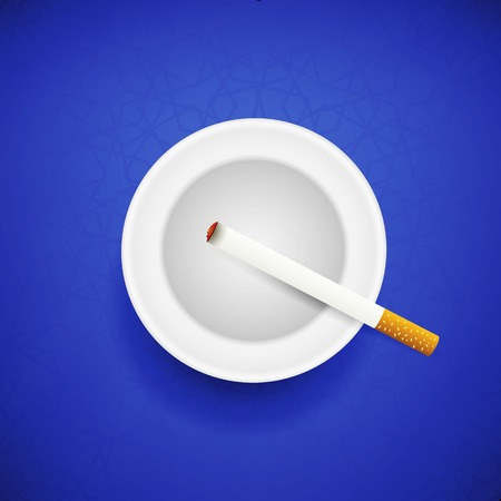 ashtray: Cigarette and Ashtray on Blue Geometric Background. Top View. Illustration