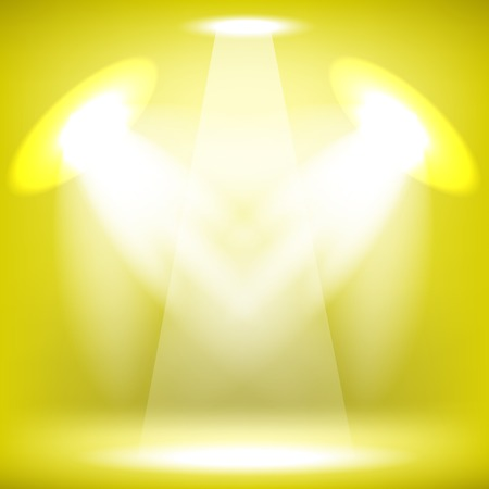 award lit: Spotlights Isolated on Yellow Background. Stage Spotlight Background Illustration