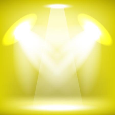 Spotlights Isolated on Yellow Background. Stage Spotlight Background Illustration