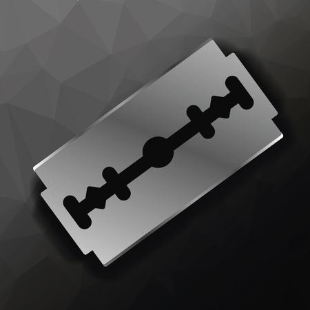 lacerate: Metal Razor Blade on Dark Polygonal Background